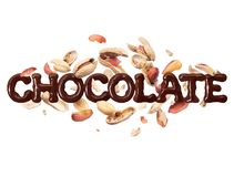 The word chocolate with peanuts on a white background royalty free stock images