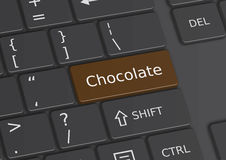 The word Chocolate written on the keyboard. The word Chocolate written on a brown key from the keyboard Royalty Free Stock Photo