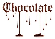 Word Chocolate written with liquid chocolate in a gothic style Royalty Free Stock Image