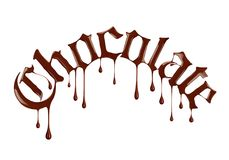 Word Chocolate written with liquid chocolate in a gothic style. On a white background Royalty Free Stock Images