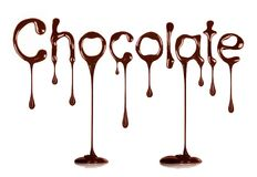 The word Chocolate written by liquid chocolate on white Royalty Free Stock Images