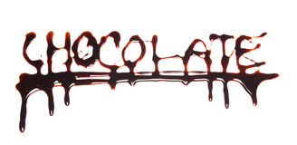 Word chocolate written on white background Royalty Free Stock Photo