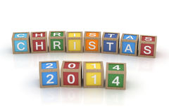The word Christmas 2014 in wooden toy blocks. Isolated render on white background Royalty Free Stock Photography