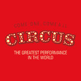 The word Circus on a red background. Vector. Stylish spelling of the word Circus and the advertisement text Royalty Free Stock Images