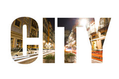 Word CITY over Cars, houses and lights in the street the night P Royalty Free Stock Photography