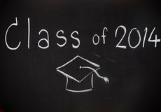 Word class of 2014 on board. Word class of 2014 on black board Stock Photos