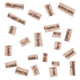 Word Clippings from Books Stock Photo