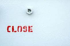 Word close in red letters on a white surface Stock Photos