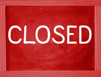 Word Closed written on a red sign Stock Photos