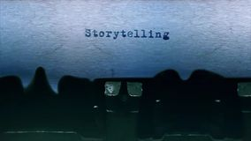 Storytelling Word  Typing  Centered on a Sheet of paper on old Typewriter audio. Word closeup Being Typing With Sound and Centered on a Sheet of paper on old stock video footage