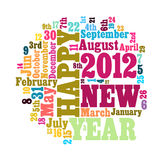 Word Cloud of 2012. Concept of 2012 new year theme (word cloud isolated white royalty free illustration