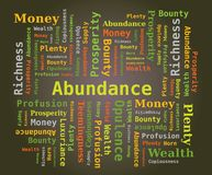 Word Cloud - Abundance in Green Letters on Dark Background Stock Photos