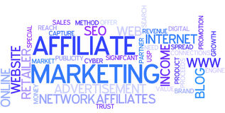 Word Cloud Affiliate Marketing. A Wordcloud showing many Tags of a Topic Stock Image