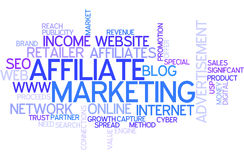 Word Cloud Affiliate Marketing. A Wordcloud showing many Tags of a Topic Royalty Free Stock Images