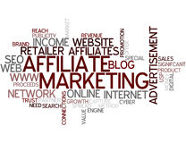 Word Cloud Affiliate Marketing. A Wordcloud showing many Tags of a Topic Royalty Free Stock Photography