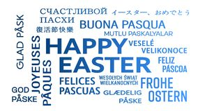 Word cloud animation - happy easter - blue vector illustration