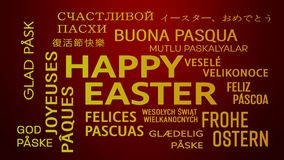Word cloud animation - happy easter - red yellow stock illustration