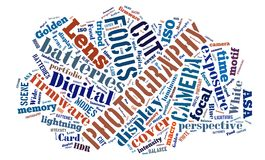 Word cloud around Photography. Tagcloud about Digital Photography - words royalty free illustration