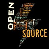 Word cloud as background. Word cloud of the open source as background Royalty Free Stock Image