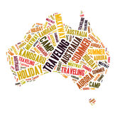 Word cloud - Australia. Word cloud for term holiday trip in Australia Stock Images