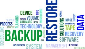 Word cloud - backup restore Stock Photography