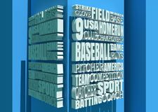 Baseball Relative Words Cloud. Word Cloud about Baseball Game. Cube Shapes Background. 3D rendering Stock Photography
