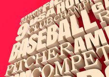 Baseball Relative Words Cloud. Word Cloud about Baseball Game. 3D rendering Stock Photos