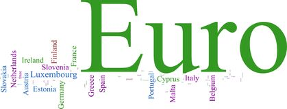 Word Cloud based around theEuro. Word Cloud based around the Common European Currency Stock Images