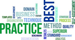 Word cloud - best practice. A word cloud of best practice related items stock illustration
