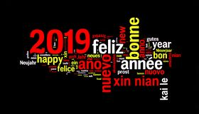 2019 word cloud on black background, new year in many languages. 2019 word cloud on black background, new year translated in many languages vector illustration