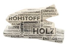 Word cloud with bright wood as background and dark keywords of wood. Word cloud with bright wood as background and dark colored relevant german keywords on the royalty free stock image