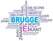 Word cloud bruges. Word cloud around bruges, city in belgium, flanders, vector image, dutch and flemish version, eps10 vector illustration