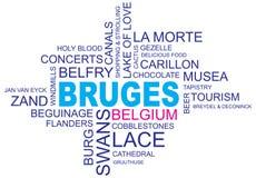 Word cloud bruges. Word cloud around bruges, city in belgium, flanders, vector image, eps10 stock illustration