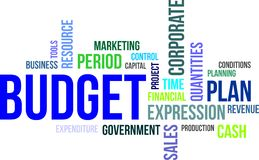 Word cloud - budget. A word cloud of budget related items Stock Photos