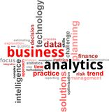Word cloud - business analytics. A word cloud of business analytics related items Stock Image