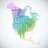 Word cloud business concept. North America map from text stock illustration