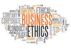 Word Cloud Business Ethics. Word Cloud with Business Ethics related tags Stock Images