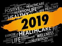 2019 word cloud collage, health concept stock illustration