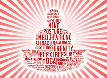 Word cloud composed in the shape of a man doing yoga meditation Royalty Free Stock Photos