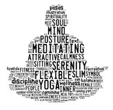 Word cloud composed in the shape of a man doing yoga meditation. Image of word cloud composed in the shape of a man doing yoga meditation pose Royalty Free Stock Photos