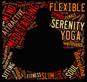 Word cloud composed in the shape of a man doing yoga meditation Stock Photography