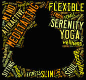 Word cloud composed in the shape of a man doing yoga meditation Royalty Free Stock Image