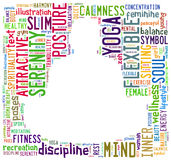 Word cloud composed in the shape of a man doing yoga meditation Royalty Free Stock Photography