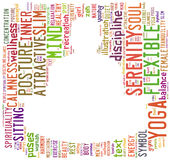Word cloud composed in the shape of a man doing yoga meditation Stock Photo