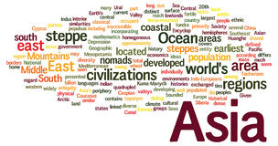 Word cloud concept of Asia Stock Image