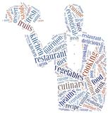 Word cloud concept healthy cooking in restaurant related Royalty Free Stock Image