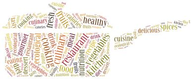 Word cloud concept healthy cooking in restaurant related Royalty Free Stock Images