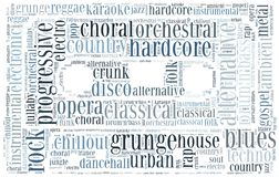 Word cloud concept of music genres Royalty Free Stock Photo
