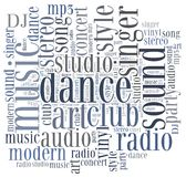 Word cloud concept music related Stock Image
