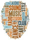 Word cloud concept music related Stock Images